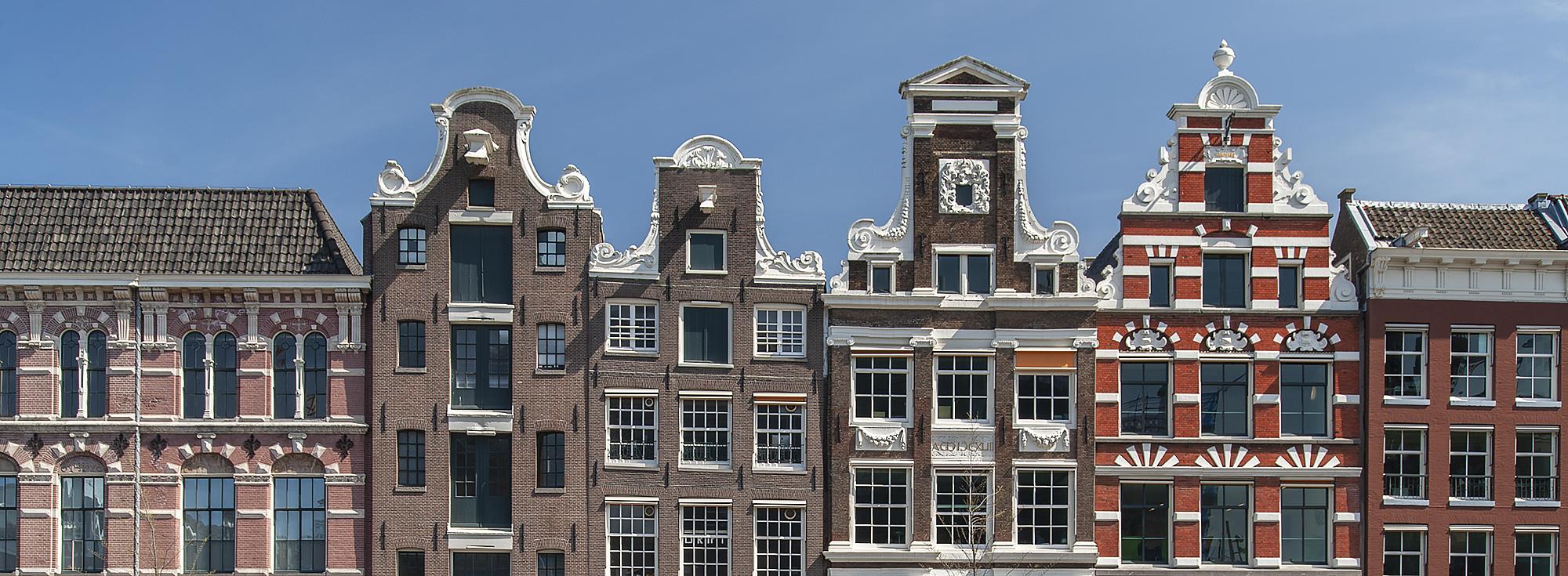 Gevels grachtenpanden Amsterdam | Monumentenfotogrraaf Leontine van Geffen- Lamers